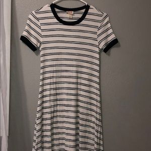 Navy and White Striped T-Shirt Dress